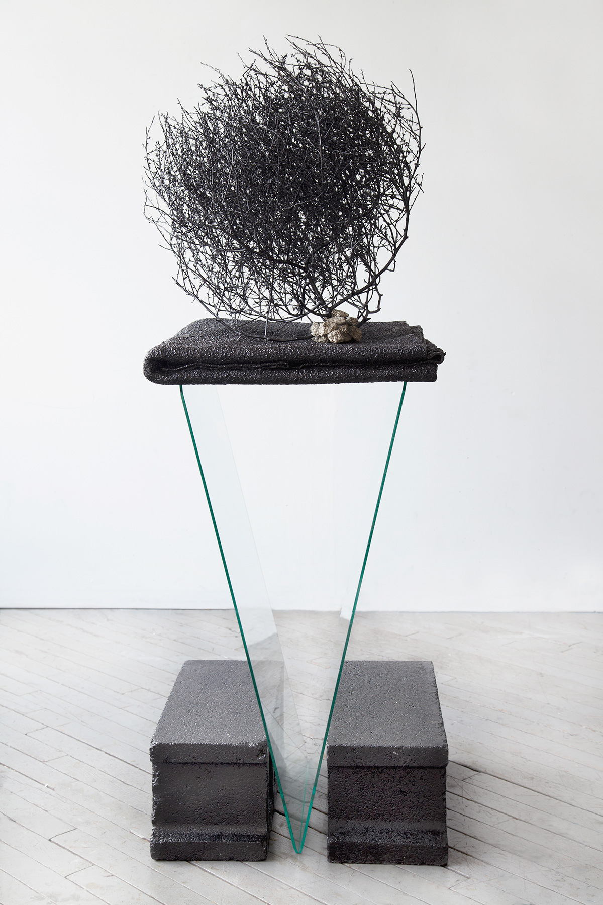 Stephanie Powell                                     'The goal is to levitate,' 2014                                     50 x 20 x 18 Inches                                     lacquer, tumbleweed, fool's gold, wool, cement