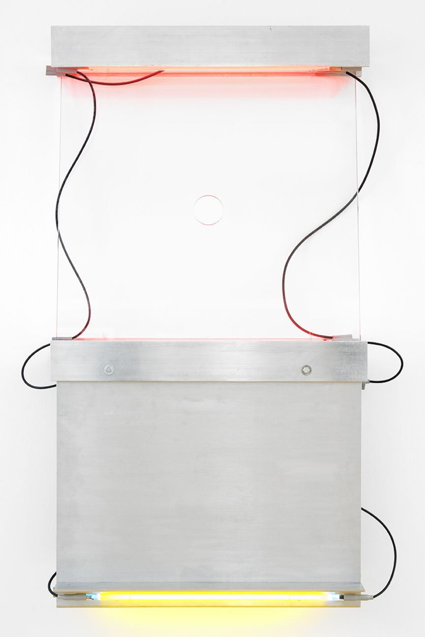Keith Sonnier                                         'Perforated Shelf IV', 1990                                          58 x 31 x 6 Inches                                         Plate glass, aluminum, neon (red, yellow, blue)