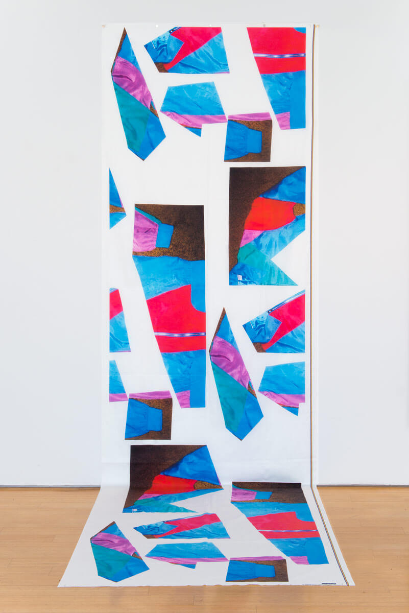 Cheryl Donegan                                         'Track Suit Banner (blue, red, green, lavender)', 2015                                         144 x 45 Inches                                         digital print on cotton fabric