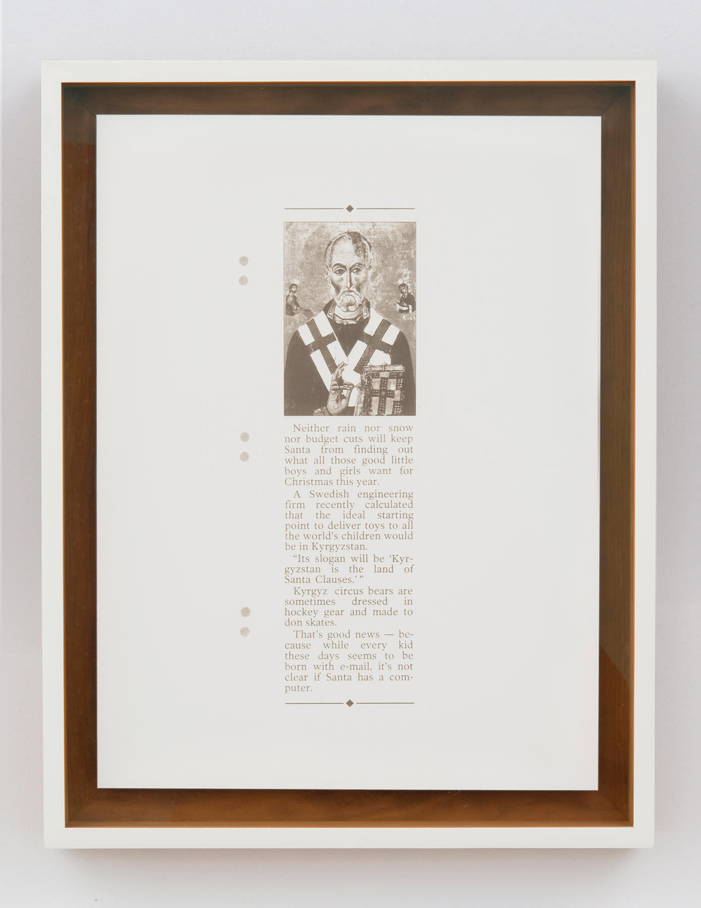 Ignacio Gonzalez-Lang                                         'Good News', 2013                                         16 x 12 inches                                         18 x 14.5 inches (framed)                                         laser on clay, board                                         edition : 1 + 1AP