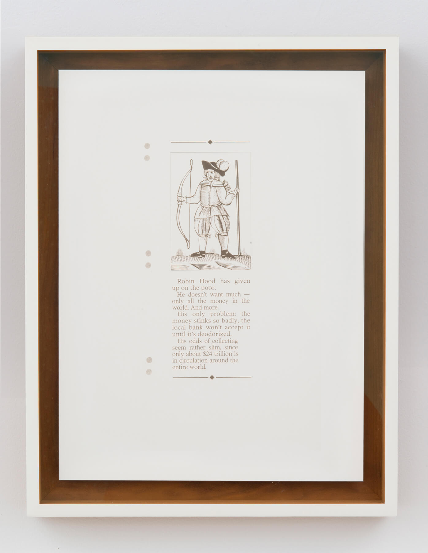 Ignacio Gonzalez-Lang                                         'All the Money', 2013                                         16 x 12 inches                                         18 x 14.5 inches (framed)                                         laser on clay, board                                         edition : 1 + 1AP