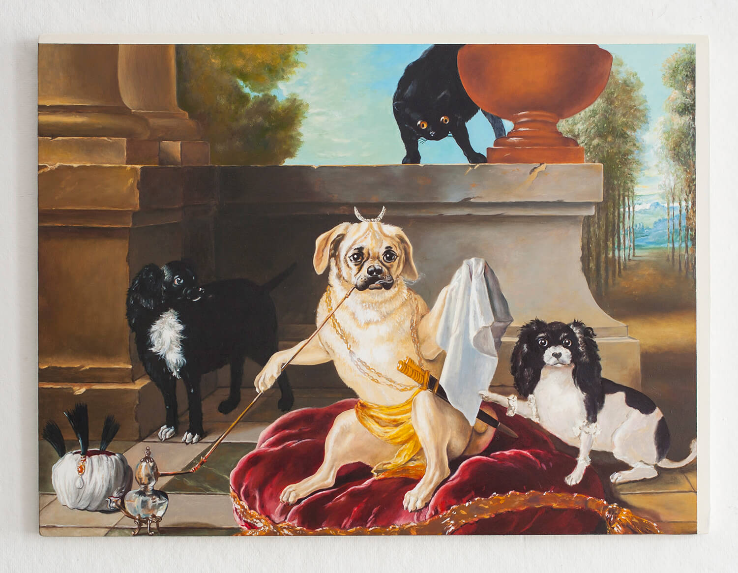 John Gordon Gauld                                         'Harem of the Pug', 2015                                          18 x 24 Inches                                          oil on honeycomb aluminum panel