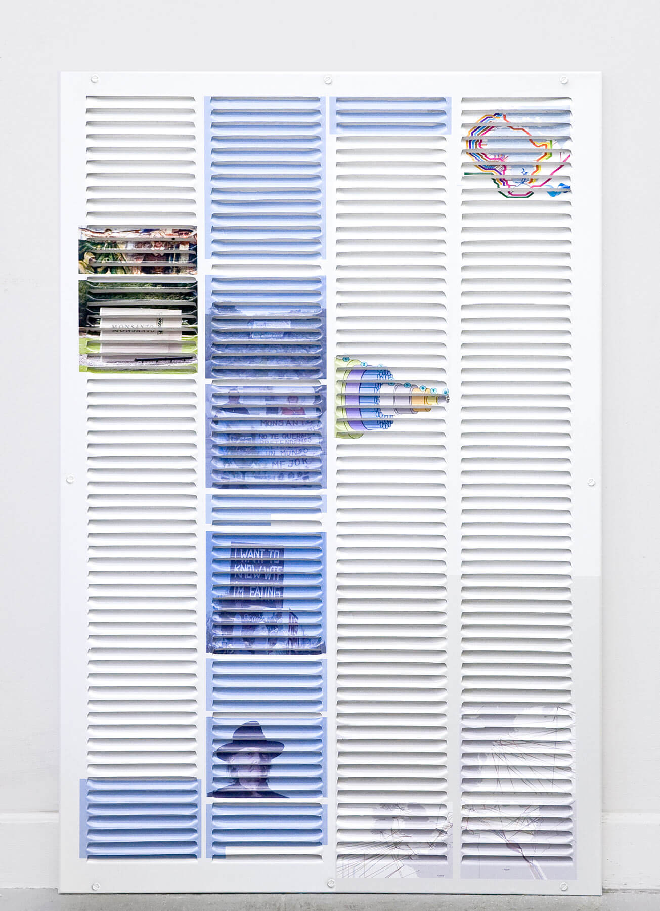 Michael Assiff                                         'Vent (The Monsanto Years, Sofia Gatica, Submarine Cables)', 2014                                         32.75 x 22.75 Inches                                         ink, vinyl, steel
